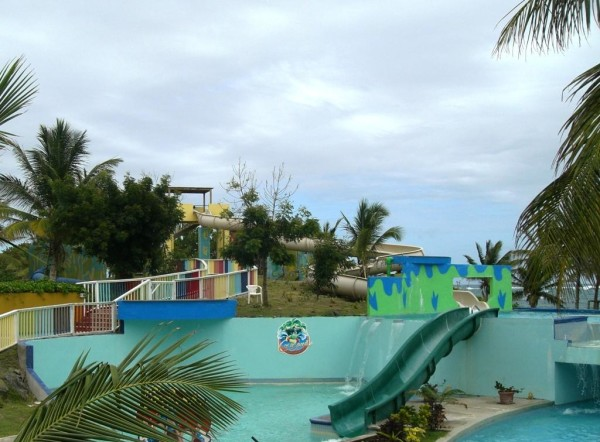 The waterpark is the largest on St. Lucia