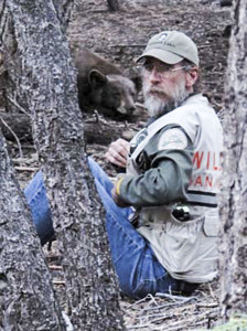Bear Whisperer Steve Searles and one of his friends, a California black bear. Photo courtesy of Steve Searles