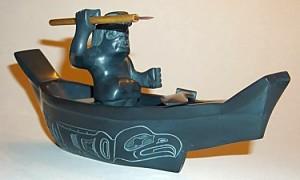 Argillite canoe by Mike Brown (Courtesy Crystal Cabin Gallery on Haida Gwaii/Queen Charlotte Islands)
