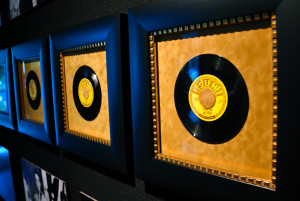 A few of Elvis' records are on display in the Trophy Room at Graceland. (photo credit: Katherine Rodeghier c 2013)