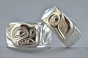 First Nations rings with totemic designs (Courtesy House of