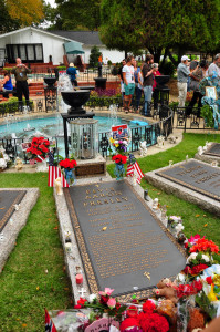Elvis is buried in the Meditation Garden at Graceland along with his parents and grandmother. There's a memorial stone for his twin brother who died at birth. (photo credit: Katherine Rodeghier c 2013)