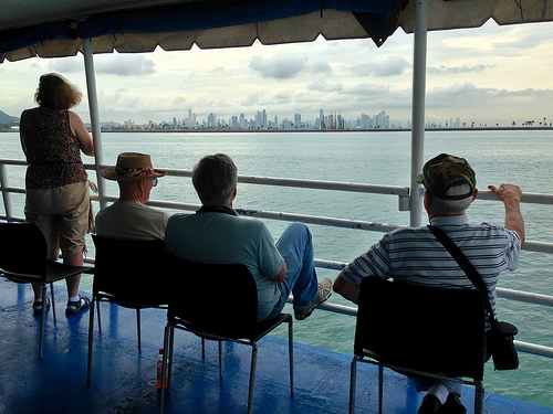 Panama City skyline from our boat