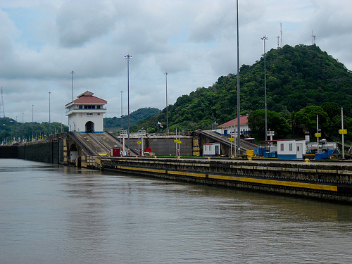 Entering the Pedro Miguel Locks of the Panama Canal