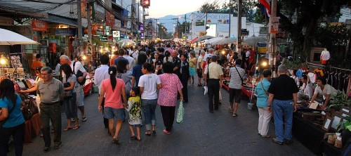 Shoppers at the Sunday Market in Chiang Mai, Thailand