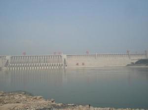 The Three Gorges Dam through morning haze (photo credit Ann Burnett c2013)