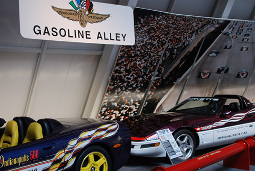 "Indy pace cars in ""Gasoline Alley"""