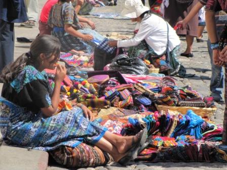 Mayan Textiles For Sale During Semana Santa