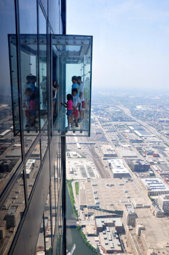 Skydeck visitors can walk onto The Ledge, enclosed glass balconies protruding 4.3 feet from the 103rd floor. (photo credit: Katherine Rodeghier c 2013)