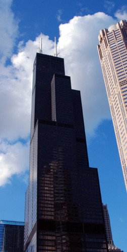 The Willis Tower was the first skyscraper to implement a bundled tube design combining separate towers of different heights. (photo credit: Katherine Rodeghier c 2013)