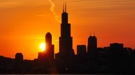 The Willis Tower, Chicago's tallest building, looms over its neighbors.