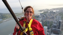 The Toronto skyline and Lake Ontario were at author Laura Byrne Paquet's feet on the CN Tower EdgeWalk. Photo courtesy of CN Tower EdgeWalk.