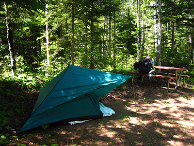 Backpacker's camp set up at McCargo Cove, Isle Royale (Sandra Friend)