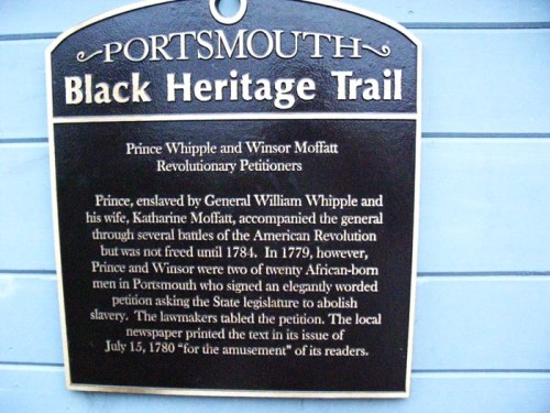 Slave Petition sign on the Portsmouth Black Heritage Trail (© Stillman Rogers)