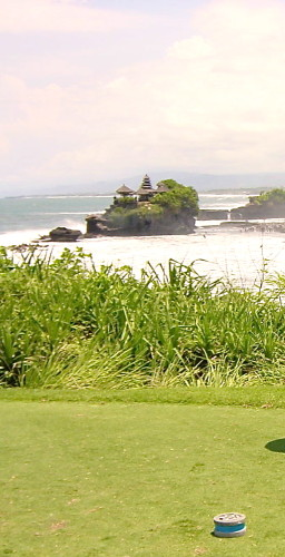 View of Tanah Lot temple from Hole #7 at Nirwana Bali Golf Club (Photo credit: MCArnott)