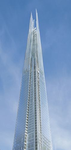 London's Shard is a 1,016-foot-tall glass-clad spire.