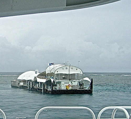 Approaching the Great Adventure Tours pontoon at Norman Reef, Queensland (Photo credit: MCArnott)