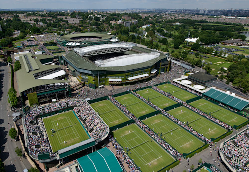 Wimbledon's famed grass tennis courts.  Centre Court is the largest.  The circular No. 1 Court is behind it. (photo credit: © AELTC)
