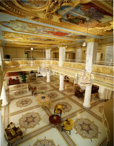 Artful lobby at French Lick Resort