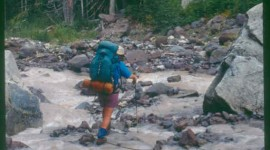 Crossing streams fed with snowmelt is one of the challenges on the Pacific Crest Trail