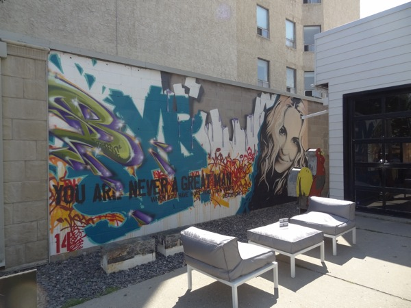 DaDeGallery mural could serve as a slogan for Inglewood (photo credit: Laura Byrne Paquet, c 2013).