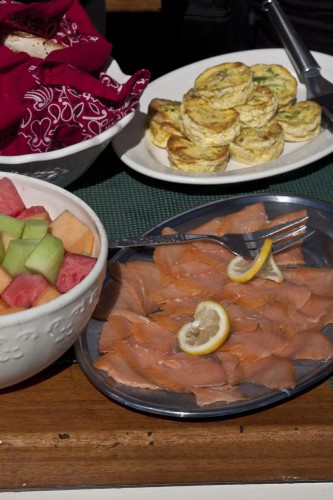 Quiche and smoked salmon for lunch (Photo by Stillman Rogers)