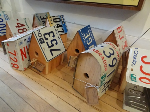 Among many other quirky recycled products, ReWorks sells birdhouses made from old license plates (photo credit: Laura Byrne Paquet, c 2013).
