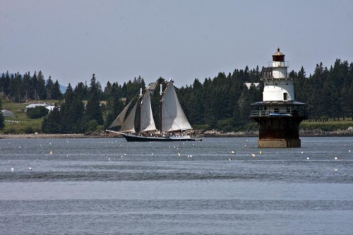 Windjammer passing Goose Rocks Lighthouse (Photo by Stillman Rogers)