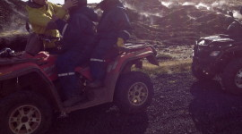 Four-wheeling in Icelandic lava fields.