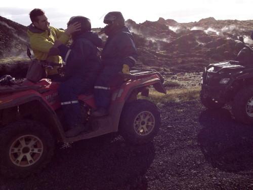 Four-wheeling in Icelandic lava fields.