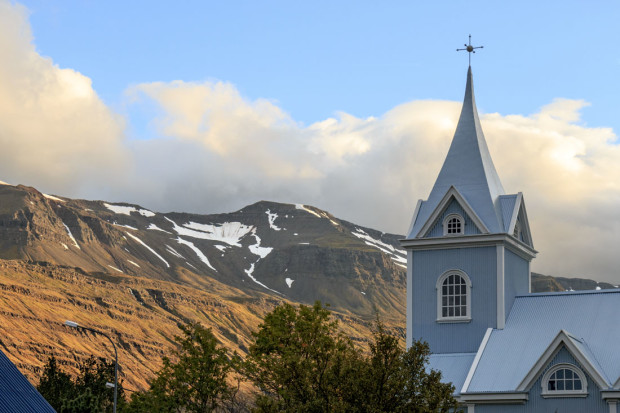 What else would locals call this but The Blue Church. It's in the eastern Iceland town of Seydisfjordur. The town is known for its preserved old wooden buildings and is connected to the rest of Iceland by a single 17 mile mountain pass road. Photo by Cardozo