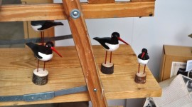 Hand-carved puffins