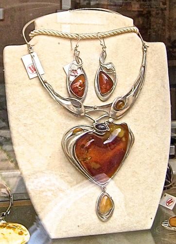 Cognac color amber jewelry set