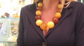 Necklace made from large amber beads