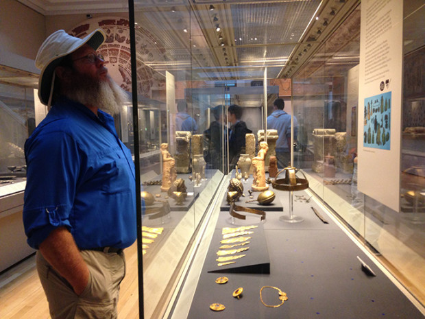 John peruses artifacts in the Roman Britain gallery