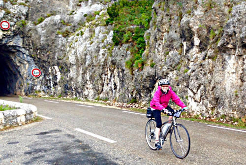 Pedaling an ebike through the Gorges de la Nesque in Provence.